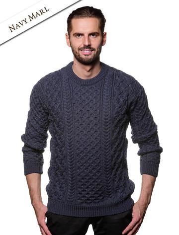 Heavyweight Merino Wool Aran Sweater - Navy Marl