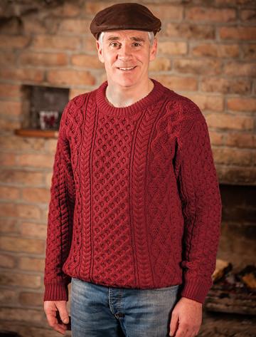 Heavyweight Merino Wool Aran Sweater- Red