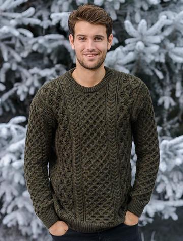 Heavyweight Merino Wool Aran Sweater- Forest (CatImage_/christmas-for-him) (CatImage_/aran-christmas-store)