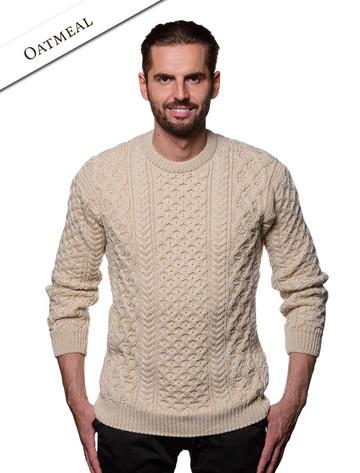 Heavyweight Merino Wool Aran Sweater- Oatmeal