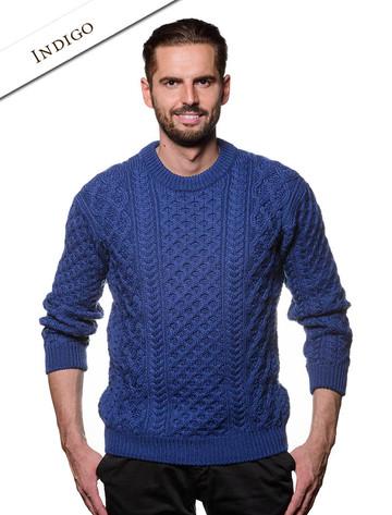 Heavyweight Merino Wool Aran Sweater - Indigo