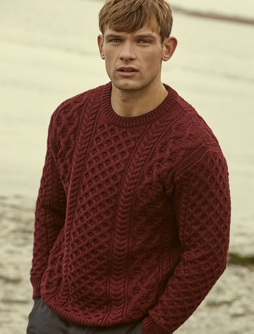 Heavyweight Merino Wool Aran Sweater - Claret