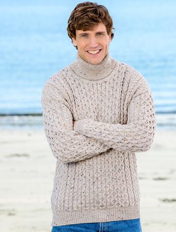 Mens Wool Turtleneck Sweater - Oatmeal