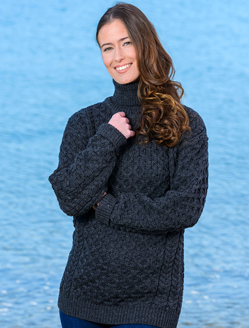 Merino Wool Turtleneck Sweater - Charcoal