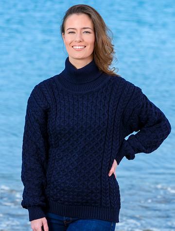 Merino Wool Turtleneck Sweater - Navy