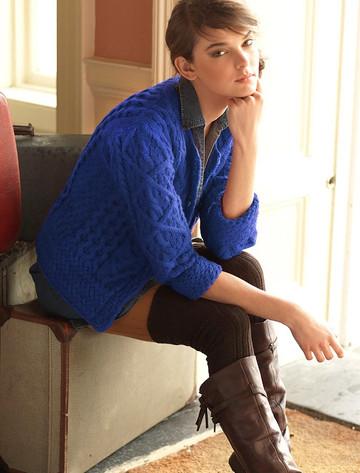 Aran Cable Knit Cardigan - Blue