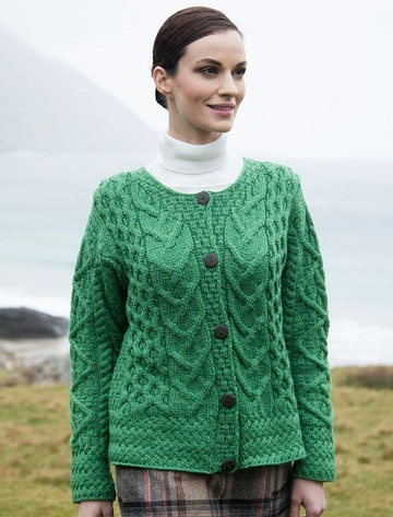 Aran Cable Knit Cardigan - Kiwi