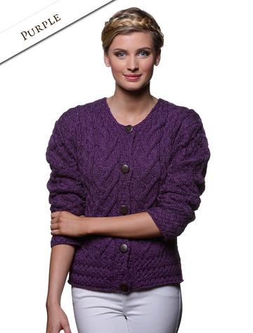 Aran Cable Knit Cardigan - Purple