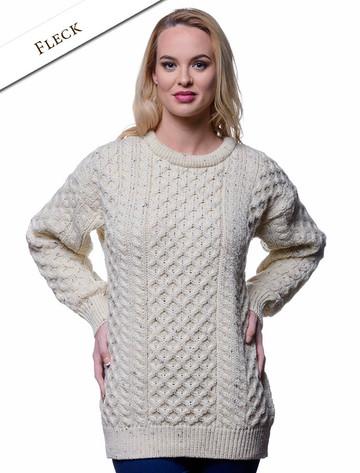 Women's Heavyweight Traditional Aran Wool Sweater - Fleck