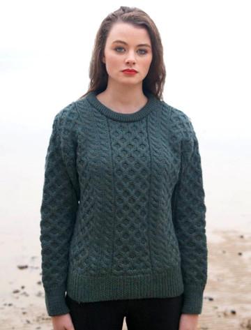 Women's Heavyweight Traditional Aran Wool Sweater - Moss Green