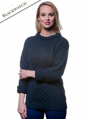 Women's Heavyweight Traditional Aran Wool Sweater - Blackwatch