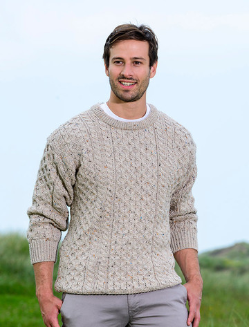 Mens Heavyweight Traditional Aran Wool Sweater - Skiddaw