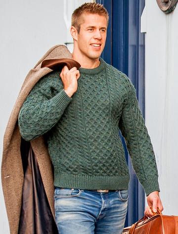 Mens Traditional Aran Irish Wool Sweater - Moss
