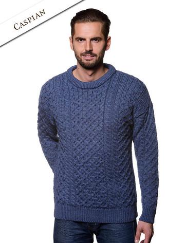 Mens Heavyweight Traditional Aran Wool Sweater - Caspian