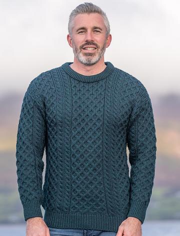 Mens Traditional Aran Irish Wool Sweater - Blackwatch