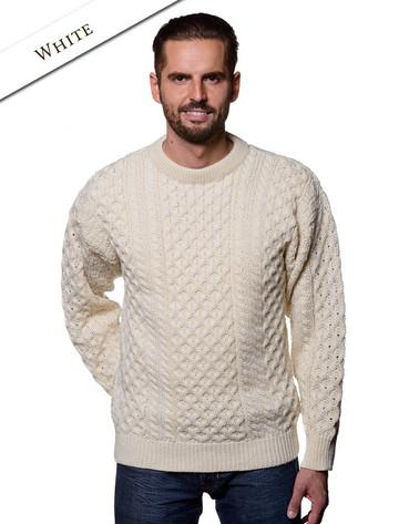 Heavyweight Mens Irish Wool Sweater - White