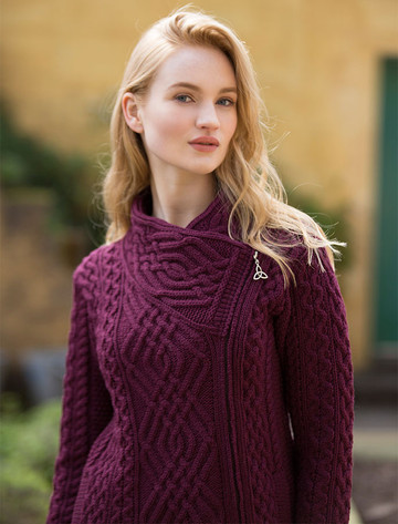 Cable Knit Jacket with Celtic Knot Side Zip - Wine
