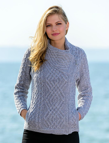 Cable Knit Jacket with Celtic Knot Side Zip - Soft Grey