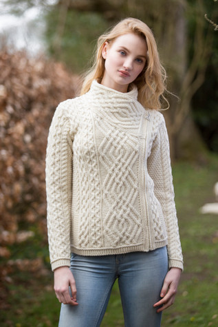 Cable Knit Jacket with Celtic Knot Side Zip - Natural White
