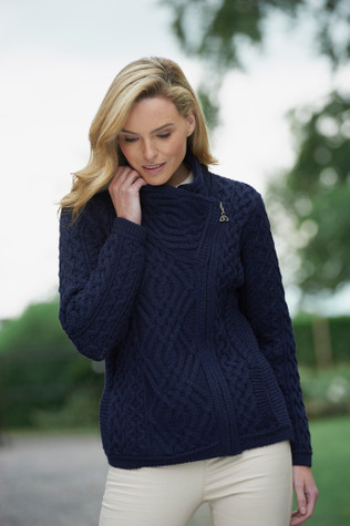 Cable Knit Jacket with Celtic Knot Side Zip - Navy