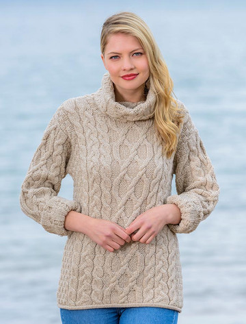 Womens Turtleneck Cable Knit Sweater - Parsnip