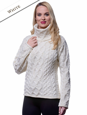 Womens Turtleneck Cable Knit Sweater - Natural White