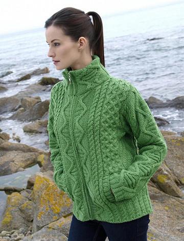 Women's Zip Aran Cardigan - Green Marl
