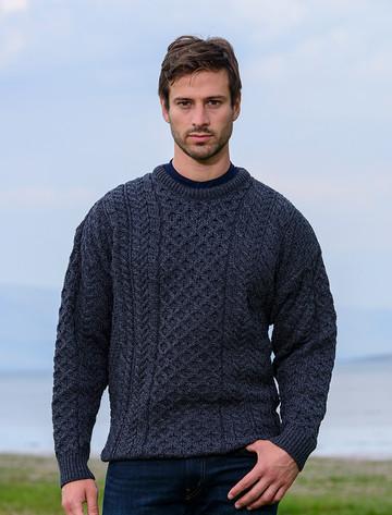 Men's Merino Aran Sweater - Derby