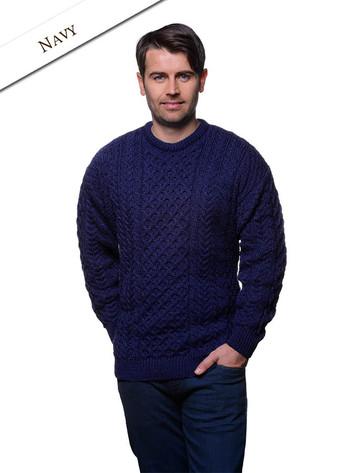 Men's Merino Aran Sweater - Navy