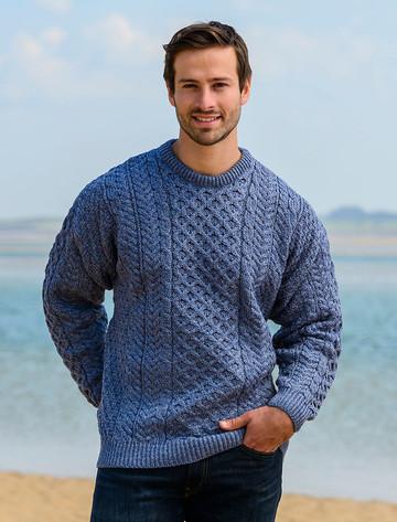 Men's Merino Aran Sweater - Denim