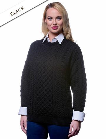 Women's Merino Aran Sweater - Black