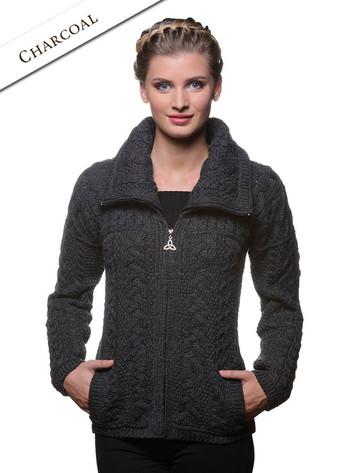 Double Collar Zip Merino Aran Cardigan - Charcoal