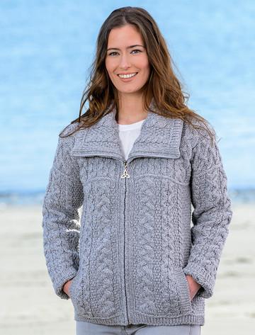 Double Collar Zip Merino Aran Cardigan - Soft Grey