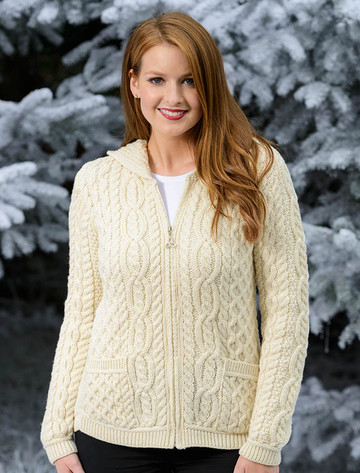 Cable Knit Hoodie with Celtic Knot Zipper Pull - White (CatImage_/christmas-for-him) (CatImage_/aran-christmas-store)