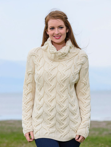 Super Soft Chunky Cable Cowl Neck Aran - Natural White