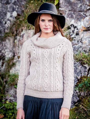 Cowl Neck Sweater with Pockets - Wicker