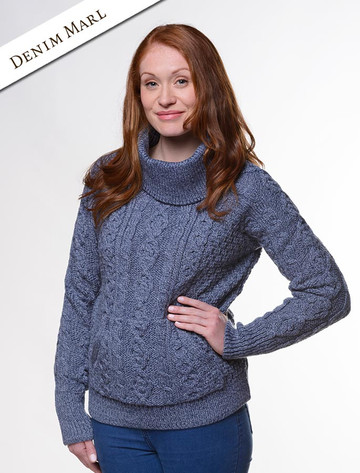 Cowl Neck Sweater with Pockets - Denim