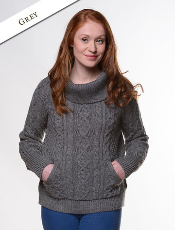 Cowl Neck Sweater with Pockets - Grey