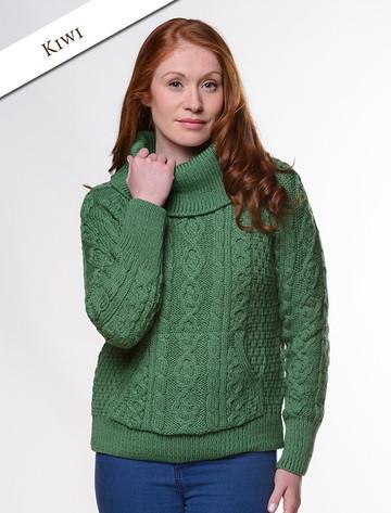 Cowl Neck Sweater with Pockets - Kiwi