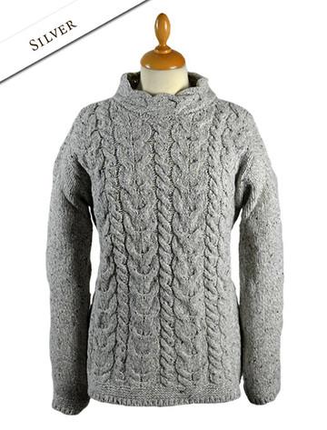 Wool Cashmere Aran Cable Merino Sweater - Silver