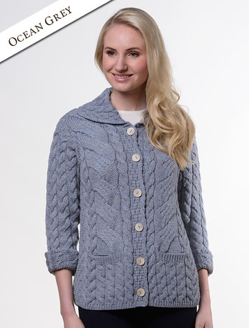 Cable Knit Button-Up Cardigan - Ocean Grey
