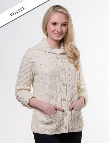 Cable Knit Button-Up Cardigan - White