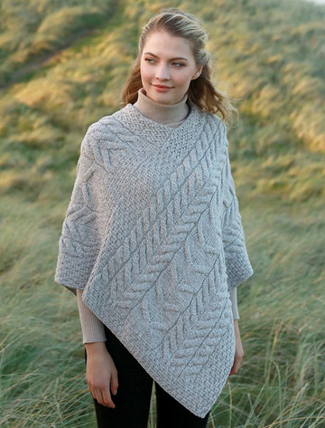 Super Soft Cable Stitch Poncho - Toasted Oat