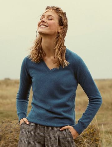 Womens Lambswool V-Neck Sweater - Ocean Teal
