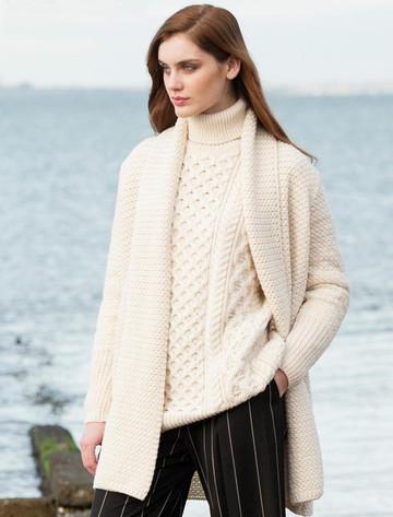 Textured Merino Cardigan - White