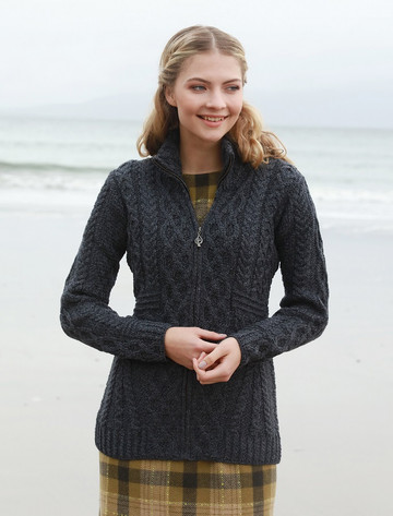 Cable Aran Cardigan with Zipper - Derby