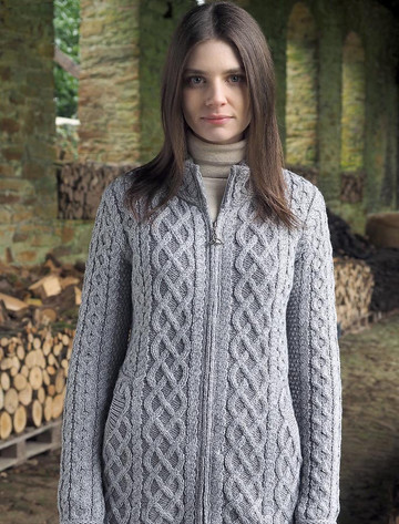 Plated Cardigan with Celtic Zip - Soft Grey Mix