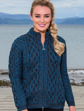 Plated Cardigan with Celtic Zip - Peacock Mix
