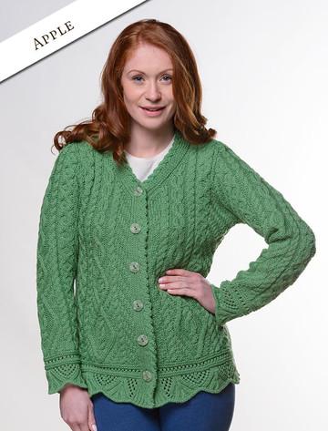Button Merino Aran Cardigan Cable Knit - Apple Green