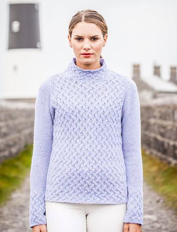 Wool Cashmere Aran Trellis Sweater - Sky Blue